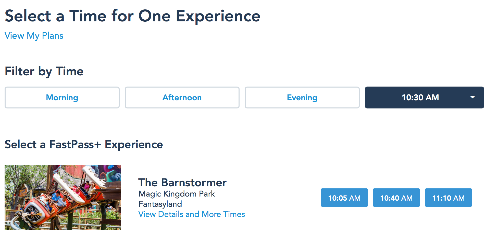 Searching FastPass by Specific Time
