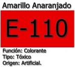 E-110 o amarillo anaranjado y sus peligrosos efectos sobre el organismo.