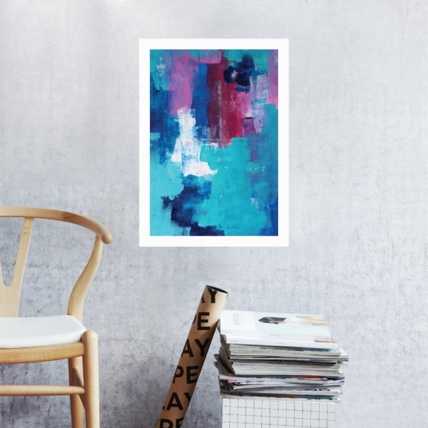Abstract Acrylic Art On Paper - Blue Clover's Friend by Charlie Albright | Moments by Charlie | Creative Abstract Artist, Photographer and Blogger | Made in Adelaide, Australia