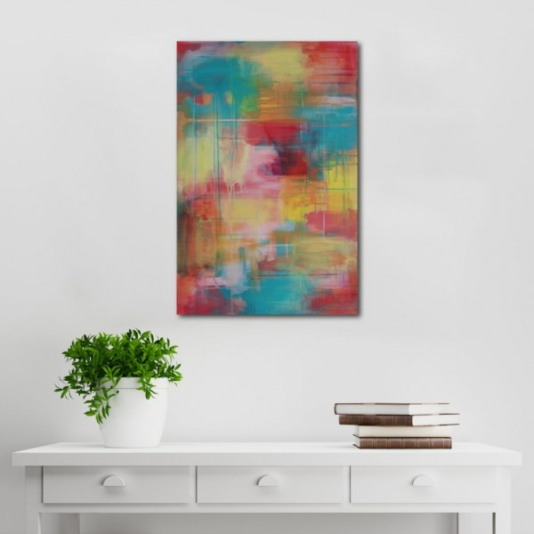 Abstract Acrylic Canvas Art - Hear The Yellow Wanderer - by Australian abstract artist Charlie Albright | Moments by Charlie | Creative Visual Artist, Photographer and Blogger | Made in Adelaide, Australia