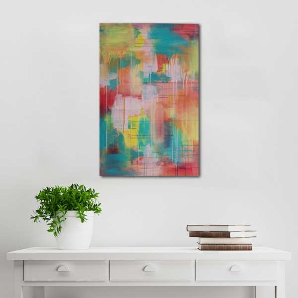 Abstract Acrylic Canvas Art - Hop To It Yellow Wanderer - by Australian abstract artist Charlie Albright | Moments by Charlie | Creative Visual Artist, Photographer and Blogger | Made in Adelaide, Australia