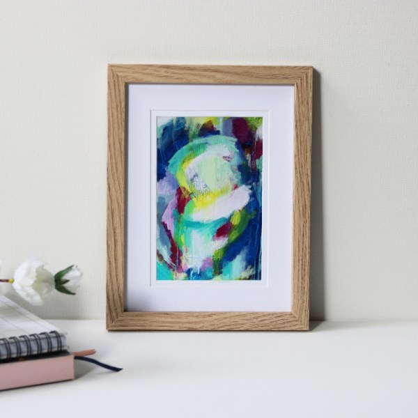 "Framed Art Print Titled Extra Happy By Creative Visual Artist Charlie Albright | Natural Oak Frame 6"" x 8"" Mount 4"" x 6"" 