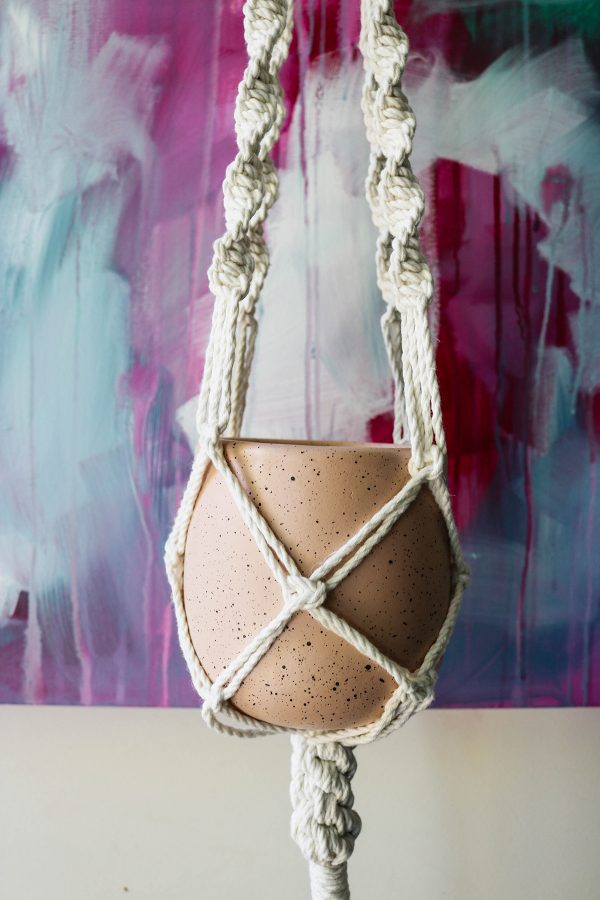 Macrame Plant Hanger With Blush Pink Plant Pot By Creative Visual Artist Charlie Albright | Macrame Knotted Art | Moments by Charlie Online Shop | Adelaide, South Australia
