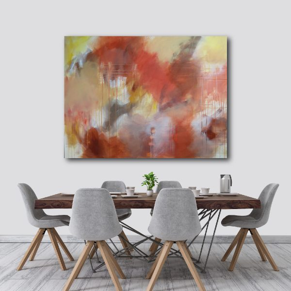 "Earthy Colours - Abstract Canvas Art Titled Apple Blossom By Adelaide Abstract Artist Charlie Albright | Canvas Size 36"" x 48"" 