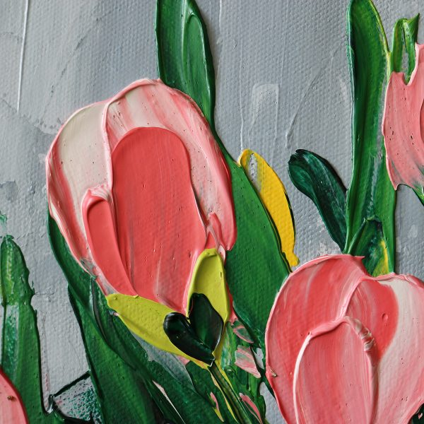 """Semi-Abstract Flowers (Tulips) Canvas Art Titled Rebirth By Adelaide Abstract Artist Charlie Albright 