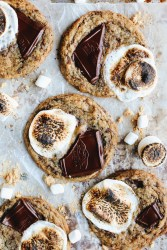 Featured recipe photograph, S'mores Chocolate chip cookies with roasted marshmallows and chocolate on top!