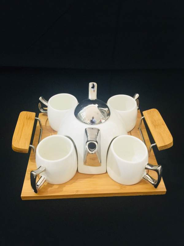 White and Silver Contemporary Tea Pot Set 1