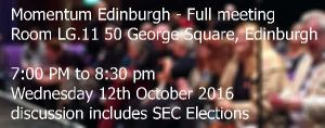 Full meeting of Momentum Edinburgh, 50 George Square, Edinburgh