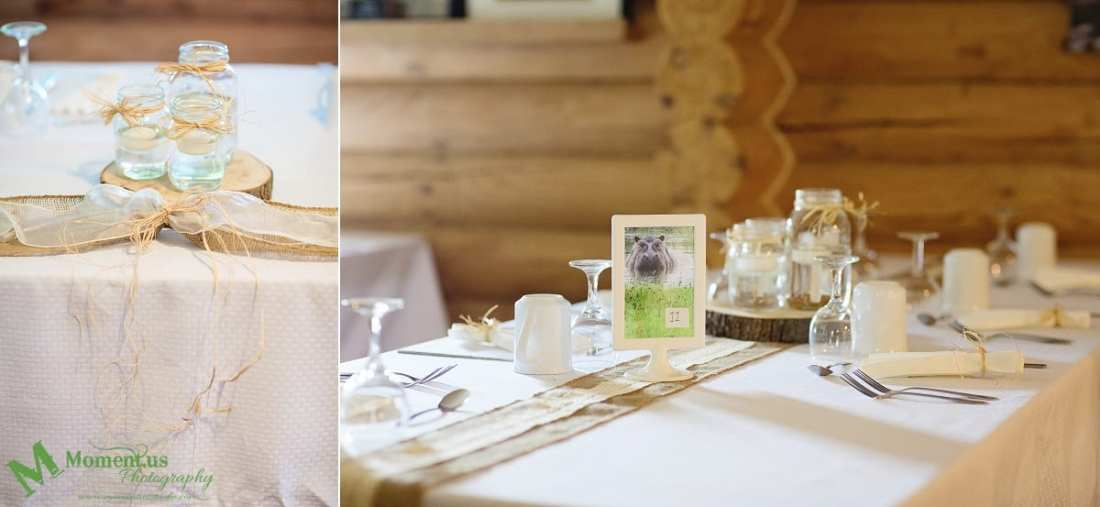 rustic country wedding photos - burlap table details