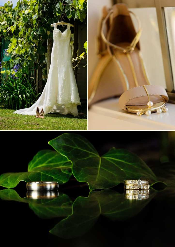 Cornwall international wedding photographer - wedding rings with leaves