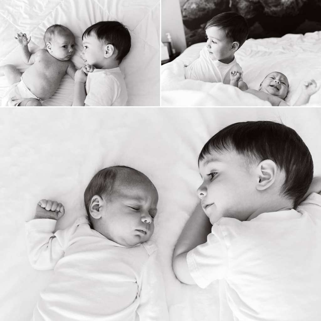 Cornwall documentary family photographer - two brothers on bed