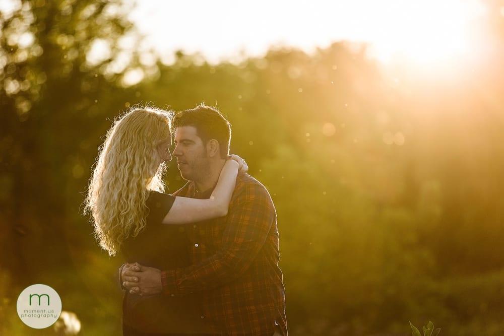 golden light on Cornwall engagement session