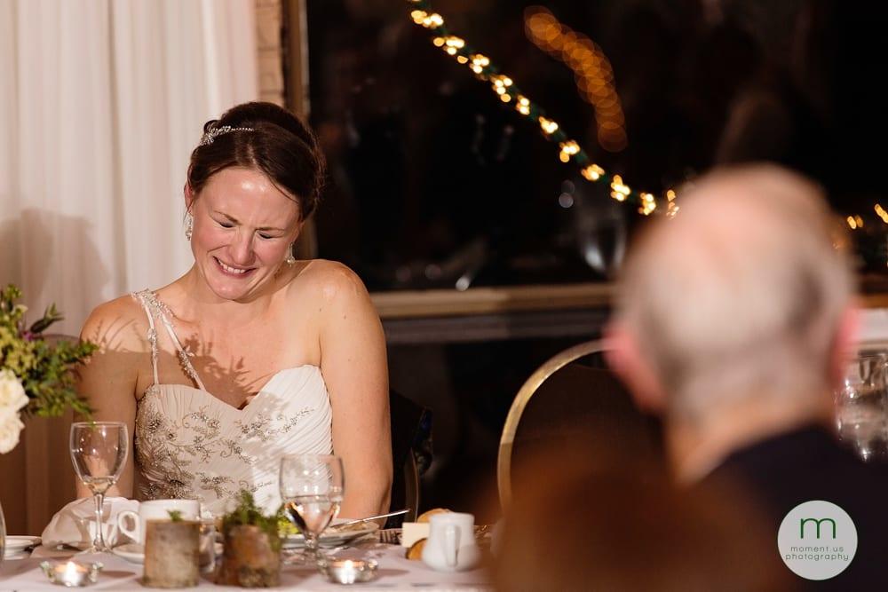 bride cringing during speech