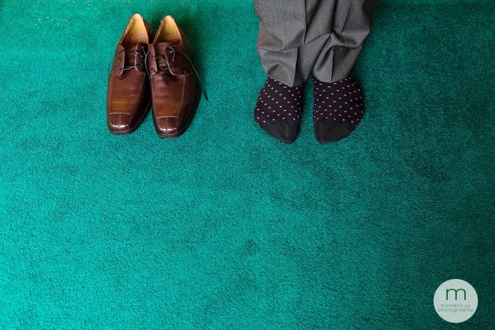groom's socks and shoes