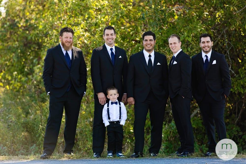 groomsmen looking at camera