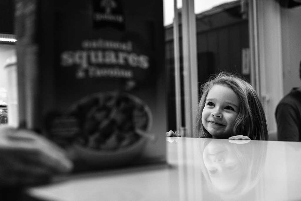 daughter happy about breakfast