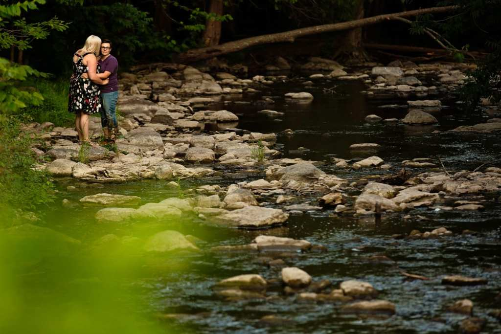 Women on rocky river edge