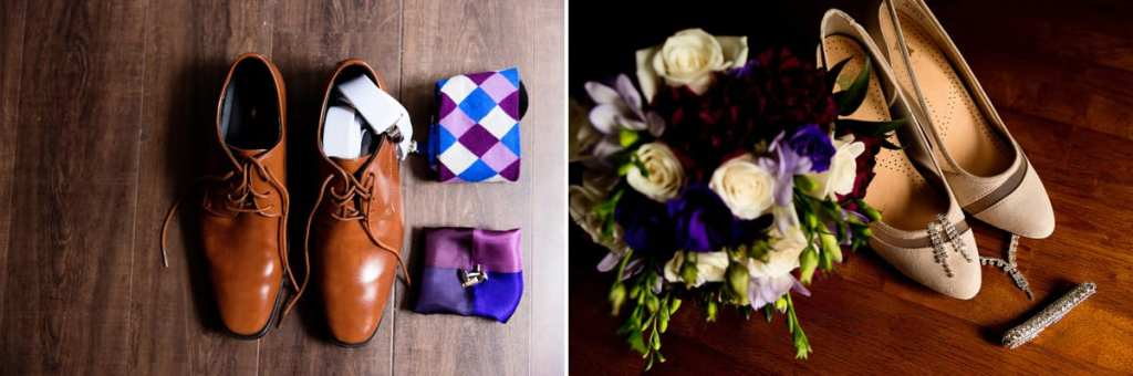 Blue and purple wedding details and bouquet with shoes and tie