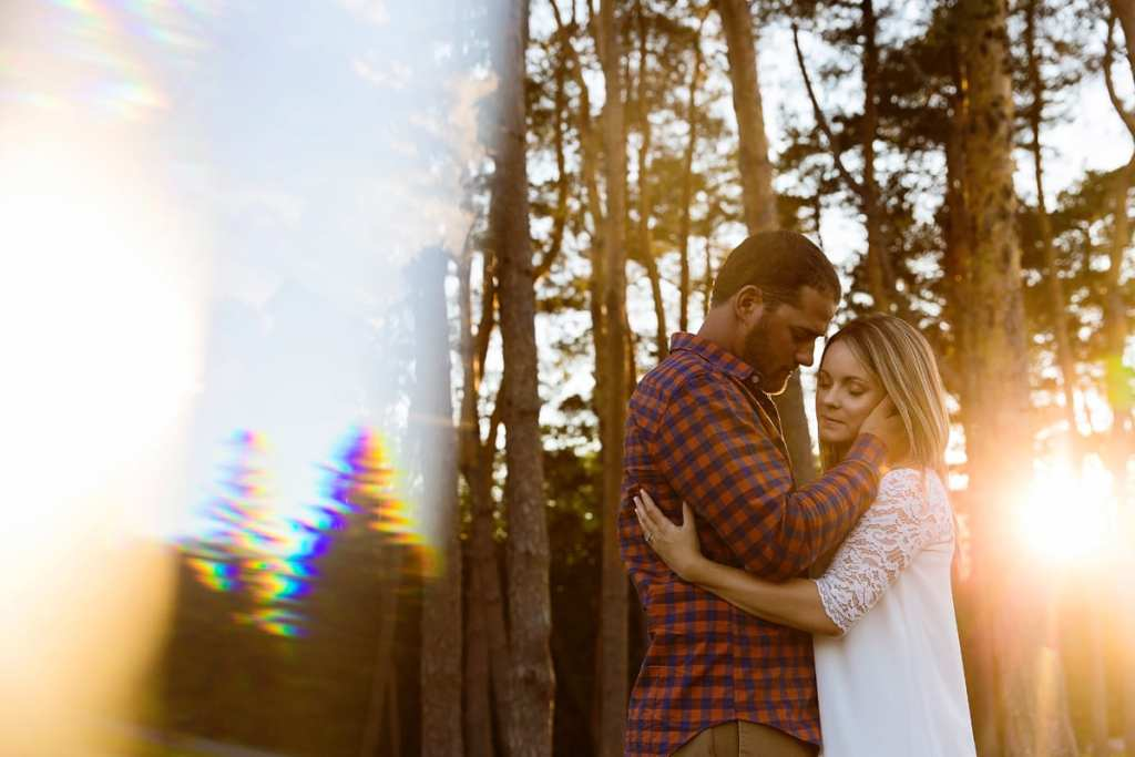 Modern Rural Cornwall engagement shoot with forest background