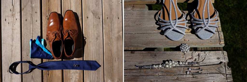 blue tie and brown shoes for groom silver sequin sandals for bride
