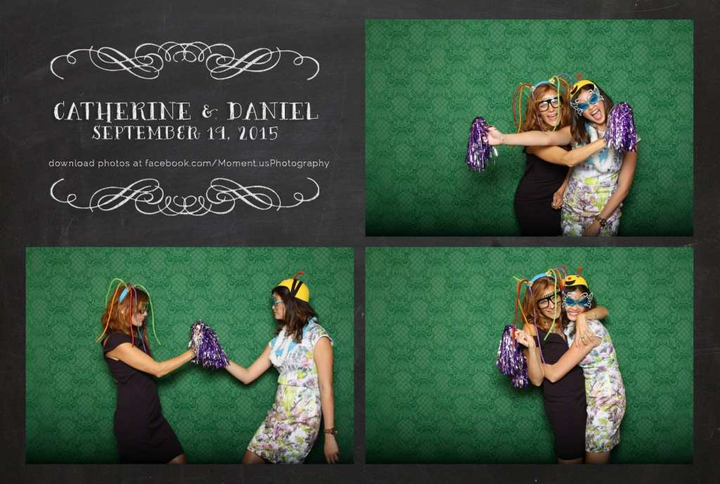 woman in bee hat and other woman with pompoms in front of green wedding photo booth backdrop