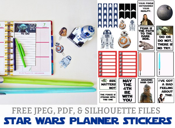 Free Star Wars Planner Stickers from Mom Envy Star Wars Free Stickers Happy Planner Free Silhouette Files