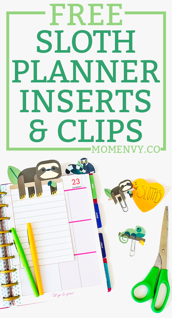 Sloth planner inserts and clips. Download free #sloth planner inserts that fit with any size planner. Three planner clips - sloth clip, #chameleon clip, and #lemur planner clip. #happyplanner #freeplannerprintables #plannerclips #planning