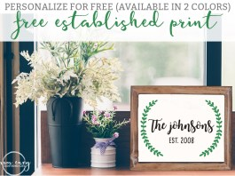 Farmhouse Inspired Established Print from Mom Envy. Farmhouse style. Free farmhouse. Free printables. Free prints. Fixer Upper style. Magnolia style. Established wreath. Completely customizable.