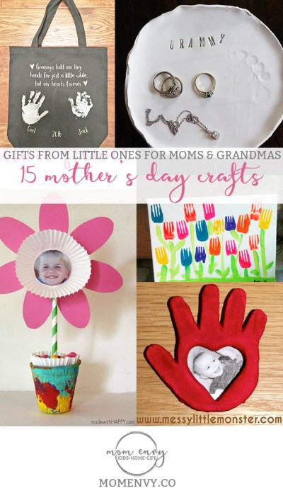 15 Mother's Day Crafts Round-Up from Mom Envy. 15 handmade crafts perfect for Mom, Grandma or Aunts. Great for Mother's Day, Birthdays, Christmas, etc.