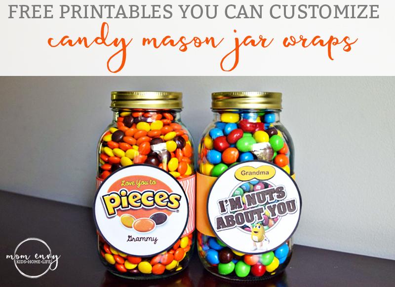Candy Mason Jar Gifts Free Customizable Printables