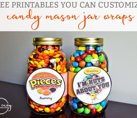 Candy Mason Jar Gifts Reeses Pieces and Peanut M & Ms from Mom Envy Free Printables you Can Customize