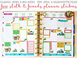 Sloth and Tropical Animals Planner Stickers from Free Mom Envy. Available in mini, classic, and big sizes. PDF, JPEG, and Silhouette files included. Free silhouette files. Happy Planner. Free planner printables. Free planner stickers. Free sloth planner stickers. Chamelon, lemur, alligator, frog, and snake planner stickers. Free happy planner stickers.