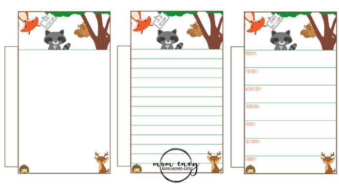 Free Woodland Animal Planner Inserts and Clips Main Picture
