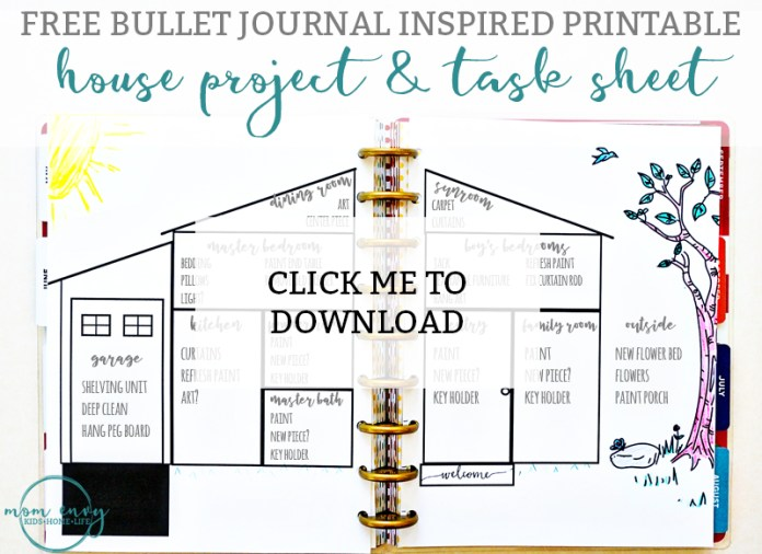 Bullet journal inspired free printables available in for Free house projects
