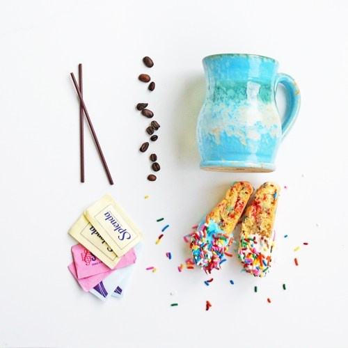 Funfetti Biscotti Mom Envy. Add a little fun to your coffee and tea bar. Perfect recipe for a baby shower, wedding shower, or afternoon tea. Great brunch recipe. It would add a fun element to any coffee bar.