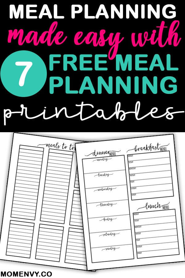 Free meal planning printables. Both weekly and monthly meal planning printables available to download. 7 different meal planner templates. Bullet journal meal planner inserts. Grocery list template included. #planners #planneraddict #mealplanning