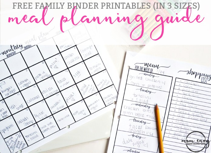 The Ultimate Guide to Meal Planning. Get free family binder printables. Free printables for the Happy Planner. Free planner printables. Free printables. Family Binder download. Menu planning. From: http://momenvy.co