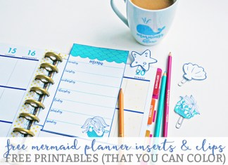 Mermaid Planner Inserts and Clips from Mom Envy. Free printable planner mermaid inserts and free printable mermaid planner clips. Or use as free printable mermaid bookmarks. You can color the mermaid whatever color you'd like. Free PDF, JPEG, and Silhouette files available. Download free mermaid planner accessories.