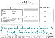 Special Education plannner inserts. Free special education planner inserts. Free special education family binder inserts. IEP at a glance. Free IEP printable. Free IEP guide for parents. Free special education teacher printables. Free teacher printables. Special ed.