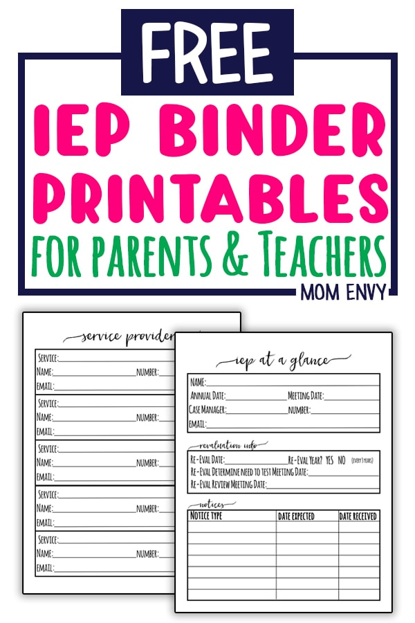 Free IEP Binder Printables. Download these Free Special Education Planner Inserts to create your own IEP binder. Perfect for parents and teachers handling IEPs. These files will help make sure your child (or student) is getting their IEP needs met. #specialed #teachers #specialedteacher