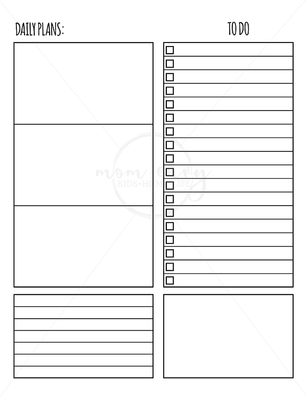 free weekly and daily planner inserts