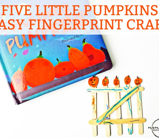 Easy Fall Fingerprint Crat for Kids - Five Little Pumpkins. Fun fall fingerprint craft for kids. Easy fingerprint craft. Fun Halloween craft. Easy Thanksgiving craft. Pumpkin craft for kids.