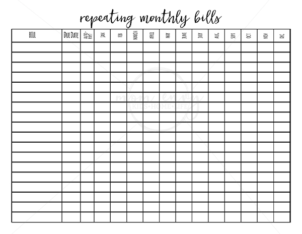 Printable monthly budget planner template