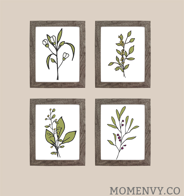 Free Botanical Prints from Mom Envy. Farmhouse Style. Fixer Upper knock off. Pottery Barn Knock Off. Bathroom art. Free prints. Free printable art. Inexpensive Bathroom Remodel. Find out how we inexpensively made over our bathroom for less than $1,000. It was a cheap bathroom makeover. Download free botanical prints. Fixer Upper inspired free prints. From Mom Envy.