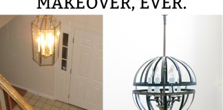 The Cheapest Light Makeover, Ever. You'll never guess what was used to create this new light.Learn how to makeover a 1980's chandelier into a farmhouse orb chandelier. Learn how to DIY a cage chandelier. Learn how to DIY your own light from an old light and save lots of money.