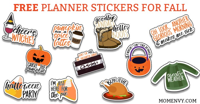 Free Fall Planner Stickers. 38 different free fall planner stickers. Free Fall Silhouette file. Free fall SVG file. Free planner stickers. Free fall printable. #freeplannerstickers #freeprintables #plannerstickers #fallplannerstickers