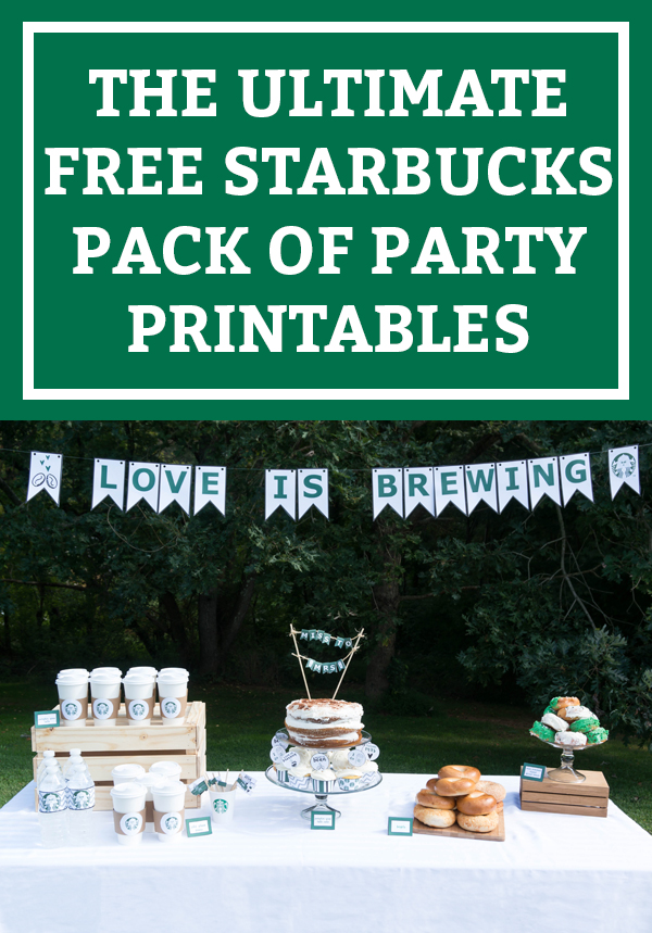 Free Starbucks Party Printables. Download the ultimate set of free party printables for a coffee party. Get what you need for a coffee bar. Perfect for a coffee bridal shower. Starbucks birthday party. Or just a Starbucks party because you love Pumpkin Spice Lattes. Download free party printables.