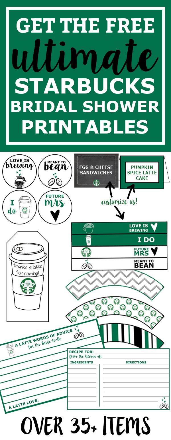 free starbucks bridal shower printable party pack