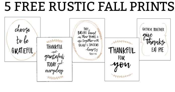 5 Free Rustic Fall Prints. Print your own farmhouse style fall prints for your home. Decorate your home with these free Thanksgiving prints. #thanksgivingdecor #freeprintables #freefallprints #fallprintables