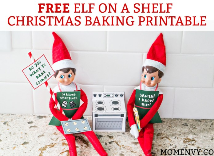 Free Elf on a Shelf Christmas Baking Printable. Free Christmas Cookies printable for The Elf on a Shelf. Print a 3-D oven for your elf, cookie dough, a cookie tray, and free printable Elf-on-a-shelf aprons! #elfonashelf #freeprintables #christmas #freechristmasprintables
